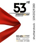 53rd anniversary design with... | Shutterstock .eps vector #1042029280