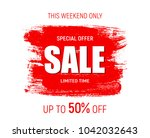 weekend sale banner template.... | Shutterstock .eps vector #1042032643