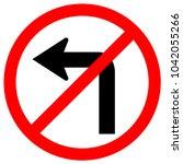 do not turn left traffic road...   Shutterstock .eps vector #1042055266
