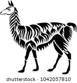 lama. stencil for laser cutting.... | Shutterstock .eps vector #1042057810
