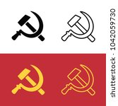 soviet hammer and sickle icon... | Shutterstock .eps vector #1042059730
