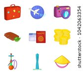 worldwide journey icons set.... | Shutterstock .eps vector #1042063354