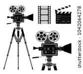 movie film camera icons with...   Shutterstock .eps vector #1042064278