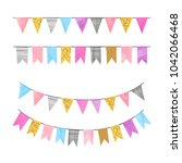 set of colorful bunting party... | Shutterstock .eps vector #1042066468