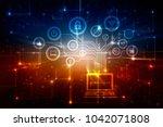 digital abstract technology... | Shutterstock . vector #1042071808