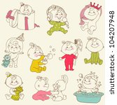 baby girl cute doodles   for... | Shutterstock .eps vector #104207948