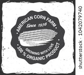 american corn farm badge or... | Shutterstock .eps vector #1042079740