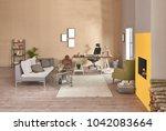 decorative modern home office... | Shutterstock . vector #1042083664