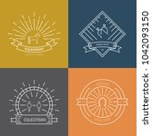 hipster collection of logotypes ... | Shutterstock .eps vector #1042093150