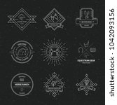 hipster collection of logotypes ... | Shutterstock .eps vector #1042093156
