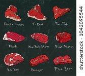 steak types set. beef cuts on a ... | Shutterstock .eps vector #1042095544
