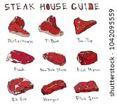 most popular steak types set.... | Shutterstock .eps vector #1042095559