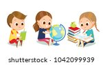 cute kids with school supplies | Shutterstock .eps vector #1042099939