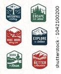 vector vintage travel patch set.... | Shutterstock .eps vector #1042100200