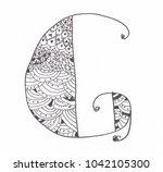 handwritten g. ornament.... | Shutterstock . vector #1042105300