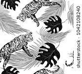 monochrome seamless pattern ... | Shutterstock .eps vector #1042108240