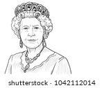 queen elizabeth ii. vector... | Shutterstock .eps vector #1042112014