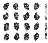 geometric crystals set. black... | Shutterstock .eps vector #1042112056