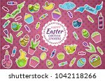 colorful vector set of easter... | Shutterstock .eps vector #1042118266