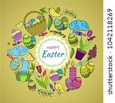 colorful vector of easter... | Shutterstock .eps vector #1042118269