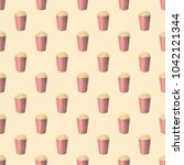 seamless pattern with popcorn... | Shutterstock .eps vector #1042121344