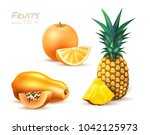 pineapple orange papaya... | Shutterstock .eps vector #1042125973