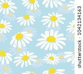 seamless doodle daisy pattern.... | Shutterstock .eps vector #1042134163