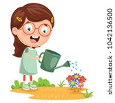 vector illustration of kid... | Shutterstock .eps vector #1042136500
