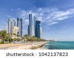 Stock photo west bay in doha qatar 1042137823
