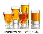 glasses of pepper vodka and red ... | Shutterstock . vector #104214083