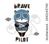 brave pilot cute panda. cartoon ... | Shutterstock .eps vector #1042145740