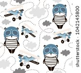 seamless pattern with cute... | Shutterstock .eps vector #1042145800