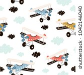 seamless pattern with retro air ... | Shutterstock .eps vector #1042146040