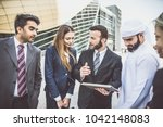 arabic and western business... | Shutterstock . vector #1042148083