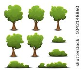 forest trees  bush and hedges... | Shutterstock .eps vector #1042148860