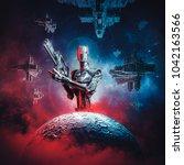 prelude to space war   3d... | Shutterstock . vector #1042163566