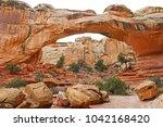 the hickman natural bridge... | Shutterstock . vector #1042168420