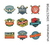 set of vintage baseball logos.... | Shutterstock .eps vector #1042175938