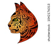 beautiful tattoo painteed cat s ... | Shutterstock .eps vector #1042176313