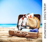 Suitcase Brown Color Summer Time - Fine Art prints