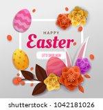 happy easter elegant card day... | Shutterstock .eps vector #1042181026