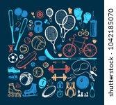 sport sketch equipment. hand... | Shutterstock .eps vector #1042185070