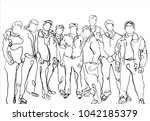 vector art drawing of happy... | Shutterstock .eps vector #1042185379