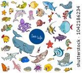 cartoon illustration of sea... | Shutterstock .eps vector #1042186234