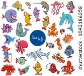 cartoon illustration of sea... | Shutterstock .eps vector #1042186258