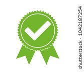 approved certified icon.... | Shutterstock .eps vector #1042187254