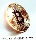 bitcoin coin photo close up....   Shutterstock . vector #1042191370