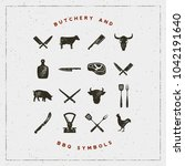 set of butchery and barbecue... | Shutterstock .eps vector #1042191640