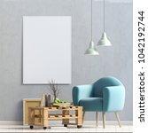 modern interior design in... | Shutterstock . vector #1042192744