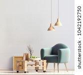modern interior design in... | Shutterstock . vector #1042192750